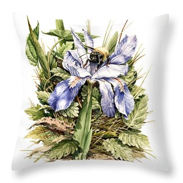 Throw Pillow featuring the painting Bearded Dwarf Iris by Bob  George