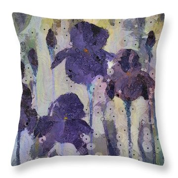 Bearded Irises Throw Pillow
