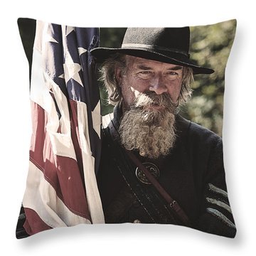 Bearing Old Glory D0256 Throw Pillow by Wes and Dotty Weber