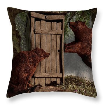 Bears Around The Outhouse Throw Pillow