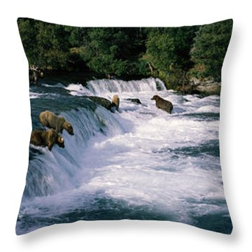 Bears Fish Brooks Fall Katmai Ak Throw Pillow