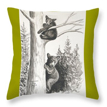 Bears In A Tree Throw Pillow