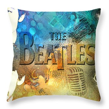 Beatle Montage Throw Pillow by Greg Sharpe