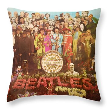 Beatles Lonely Hearts Club Band Throw Pillow by Gina Dsgn