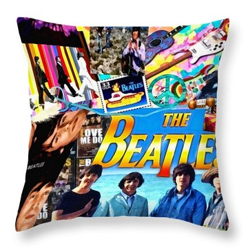 Beatles For Summer Throw Pillow by Mo T