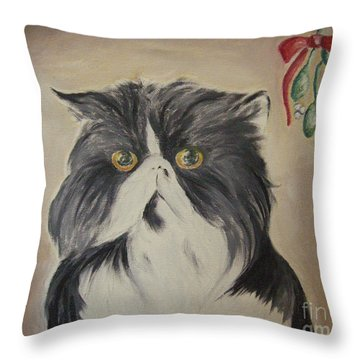 Beau With Mistletoe Throw Pillow by Victoria Lakes