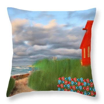 Beautification Of A Lighthouse Throw Pillow by Bruce Nutting