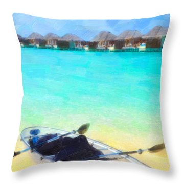 Beautiful Beach With Water Bungalows At Maldives Throw Pillow by Lanjee Chee