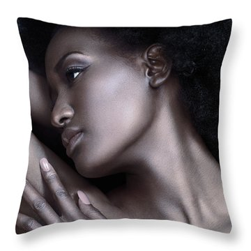 Beautiful Black Woman Face With Shiny Silver Skin Throw Pillow