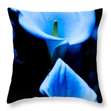Beautiful Blue Calla Lilies Throw Pillow