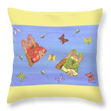 Beautiful Bunnies Throw Pillow by Tracy Campbell