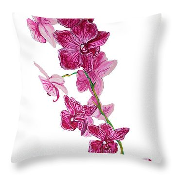 Beautiful Burgundy Orchid Flower Original Floral Painting Pink Orchid I By Megan Duncanson Madart Throw Pillow by Megan Duncanson