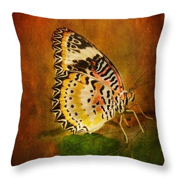 Beautiful Butterfly Throw Pillow by Barbara Manis