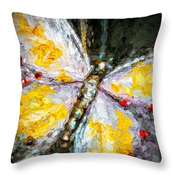 Beautiful Butterfly Ruby Jewel Abstract Throw Pillow