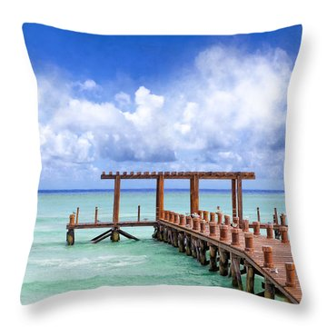 Beautiful Caribbean Sea Pier - Playa Del Carmen Throw Pillow by Mark E Tisdale