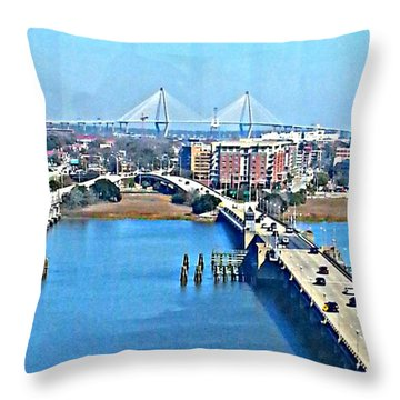 Charleston S C City View Throw Pillow
