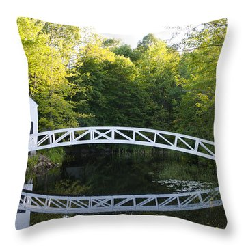 Beautiful Curved Bridge In Somesville Throw Pillow by Bill Bachmann