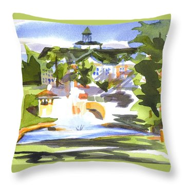 Beautiful Day At The Baptist Home Of The Ozarks In Watercolor Throw Pillow by Kip DeVore