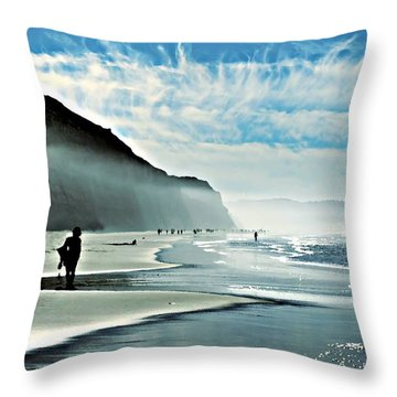 Another Beautiful Day At The Beach Throw Pillow by Sharon Soberon