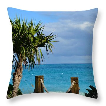 Beautiful Day At The Beach Throw Pillow by Judy Wolinsky