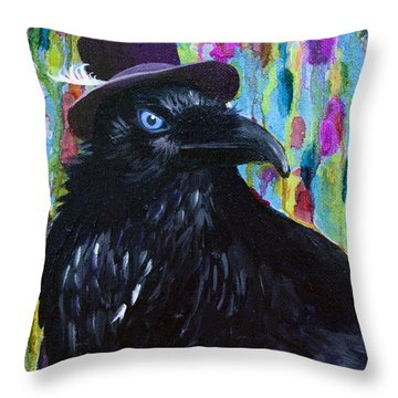 Beautiful Dreamer Black Raven Crow 8x10 Mixed Media By Jaime Haney Throw Pillow