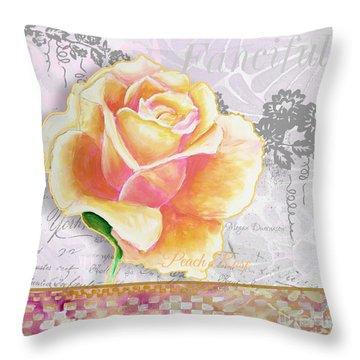 Beautiful Floral Peach Rose Original Flower Painting By Megan Duncanson Throw Pillow by Megan Duncanson