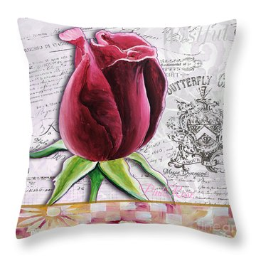 Beautiful Floral Pink Rose Original Flower Painting By Megan Duncanson Throw Pillow by Megan Duncanson