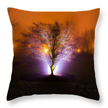 Beautiful Foggy Night 2 Throw Pillow by Michael Cross