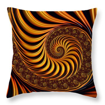 Beautiful Golden Fractal Spiral Artwork  Throw Pillow by Matthias Hauser