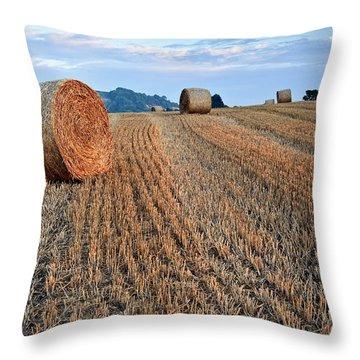 Beautiful Golden Hour Hay Bales Sunset Landscape Throw Pillow by Matthew Gibson