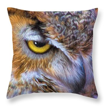 Beautiful Great Horned Owl Bird Golden Eye Throw Pillow