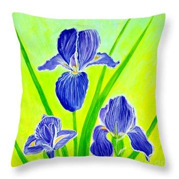 Beautiful Iris Flowers Card Throw Pillow