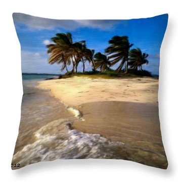 Throw Pillow featuring the painting Beautiful Island by Bruce Nutting