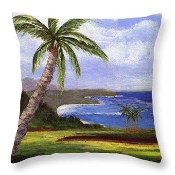 Throw Pillow featuring the painting Beautiful Kauai by Jamie Frier