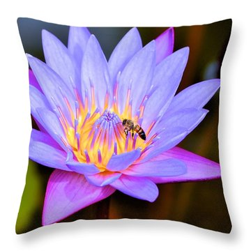 Beautiful Lily And Visiting Bee Throw Pillow by Kristina Deane