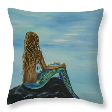 Beautiful Magic Mermaid Throw Pillow by Leslie Allen