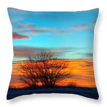 Beautiful Mornin' Panorama Throw Pillow by Bonfire Photography