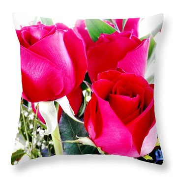 Beautiful Neon Red Roses Throw Pillow