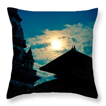 Beautiful Night Scene In Old Town Bhaktapur Throw Pillow