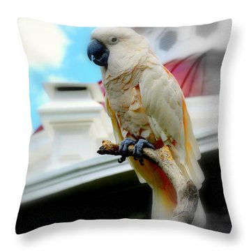 Beautiful Salmon-crested Cockatoo Throw Pillow