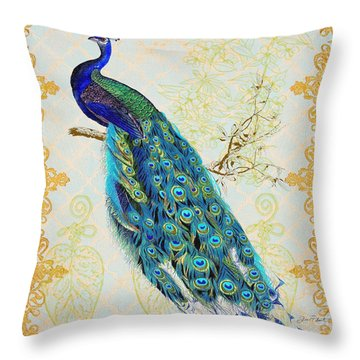 Beautiful Peacock-b Throw Pillow by Jean Plout
