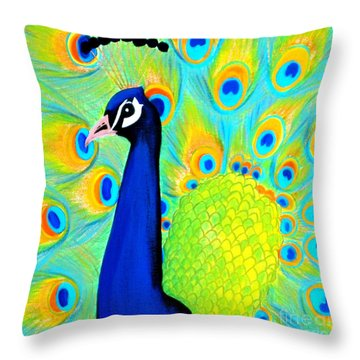 Beautiful Peacock Card Throw Pillow