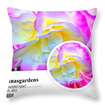 Beautiful Pink And Yellow Rose Throw Pillow