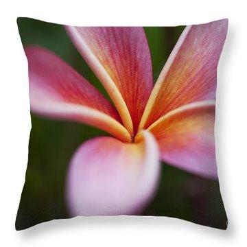 Beautiful Pink Plumeria Blossom Throw Pillow