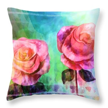 Beautiful Pink Roses Throw Pillow by Annie Zeno