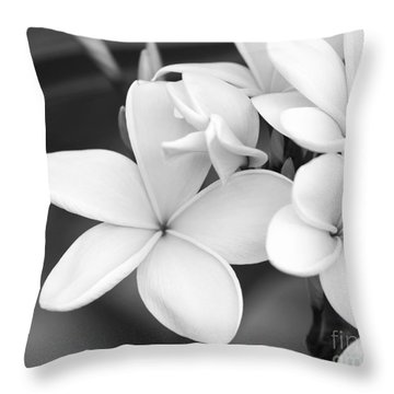 Beautiful Plumeria In Black And White Throw Pillow