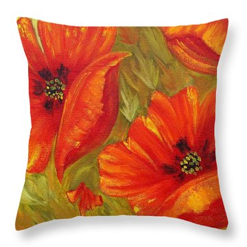 Beautiful Poppies Throw Pillow