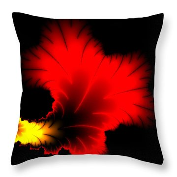 Beautiful Red And Yellow Floral Fractal Artwork Square Format Throw Pillow by Matthias Hauser