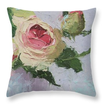 Beautiful Roses Oil Palette Knife Painting Throw Pillow