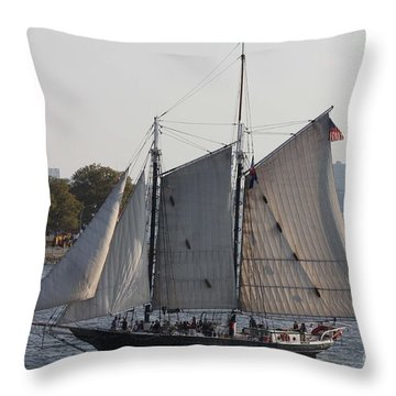 Beautiful Sailboat In Manhattan Harbor Throw Pillow by John Telfer